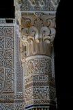 Typowy Berber dekorował kolumnę przy Tobius ` s qasba w Maroko po deszczu Fotografia Stock