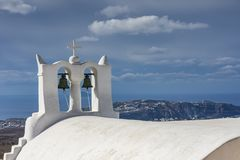 TYPOWY grek CHURC, SANTORINI zdjęcia stock