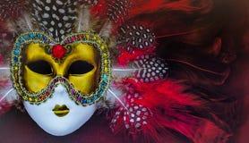 Typowy Karnawałowy złoto maski bogactwo czerwoni piórka Fotografia Stock