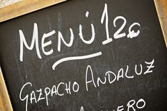Typowy menu Zdjęcie Royalty Free
