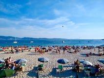 Typowy plażowy dzień podczas lata przy Sanxenxo w Hiszpania obraz royalty free