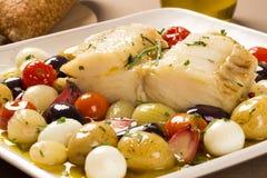 Typowy Portugalski naczynie z codfish dzwoniącym Bacalhau robi Porto Zdjęcie Royalty Free
