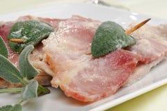 Typowy rzymski naczynie, saltimbocca, zbliżenie fotografia stock
