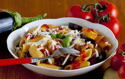 Typowy włoski jedzenie: sicilian makaron, nazwany norma Zdjęcia Stock