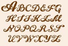 Typsatt bokstäver för kalligrafialfabet royaltyfri illustrationer