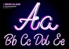 Typsatt neon glödande 3D Stilsortsuppsättning av Glass bokstäver stock illustrationer