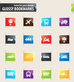 Typse of Transport Bookmark Icons Stock Photo