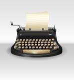 Typwriter retro preto com papel ilustração royalty free