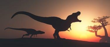 Tyrannosarie Rex i djungeln arkivbild