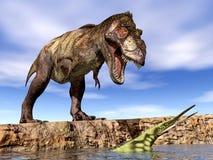 Tyrannosarie Rex och Hupehsuchus Royaltyfri Bild