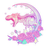 Tyrannosarie som vrålar med måne- och rosramen som isoleras på vit Arkivbilder