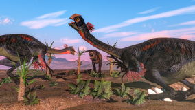 Tyrannosarierex som anfaller gigantoraptordinosaurien royaltyfri illustrationer