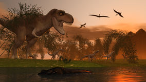 Tyrannosaur. Small dinosaurs and pterodactyls. 3d rendered image Stock Photos