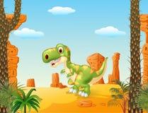 Tyrannosaur bonito do bebê com o fundo do deserto Imagem de Stock
