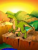 Tyrannosaur bonito dos desenhos animados com fundo da paisagem ilustração do vetor