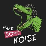 Tyrannosaur music fan. Tyrannosaur listening a music .Prints design for t-shirts. Vector image stock illustration