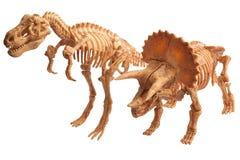 Tyrannosaur and tyrannosaur. Toy dinosaur tyrannosaur and tyrannosaur isolated on white Stock Image