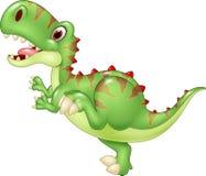 Tyrannosaure drôle de bande dessinée sur le fond blanc Image libre de droits
