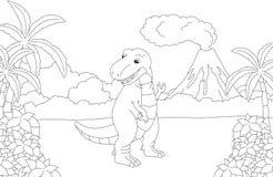 Tyrannosaure mignon drôle sur le fond d'un natu préhistorique illustration stock