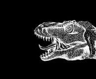 Tyrannosaure Rex avec la bouche ouverte Dinosaure dessiné avec le cha blanc illustration stock