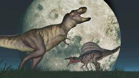 Tyrannosaure Rex et Spinosaurus devant la lune Image libre de droits