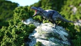 Tyrannosaure Rex sur les falaises rocheuses nature préhistorique rendu 3d illustration de vecteur
