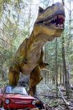 Tyrannosaure sur la voiture rouge dans la forêt photo stock