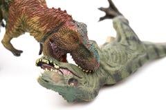 Tyrannosaurus biting another tyrannosaurus toy on white background Stock Photo