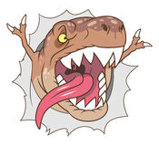 Tyrannosaurus breaks wall and roars Stock Photo