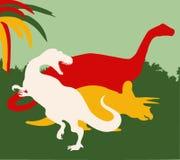 Tyrannosaurus, brontosaurus en triceratops achtergrond stock illustratie