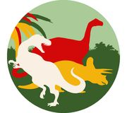 Tyrannosaurus, brontosaurus en triceratops ronde achtergrond vector illustratie