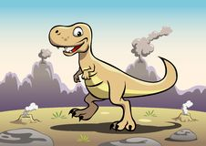 Tyrannosaurus. A cheerful Tyrannosaurus/ T-Rex in front of the volcanic rocky mountains Royalty Free Stock Image