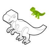 Tyrannosaurus coloring book. Dinosaur isometric style. Prehistor Stock Image