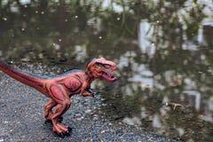 Tyrannosaurus dichtbij het water in het bos royalty-vrije stock foto's