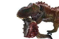 Tyrannosaurus die een dinosauruslichaam met bloed op witte achtergrond bijten Stock Fotografie