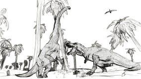 Tyrannosaurus die tegen diplodocus vechten royalty-vrije illustratie