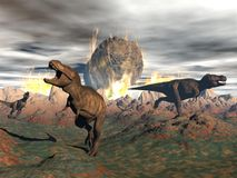 Tyrannosaurus dinosaur exctinction - 3D render Stock Images