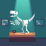 Tyrannosaurus dinosaur skeleton at museum room. Tyrannosaurus dinosaur skeleton at archeology museum exposition room. Lit with spot light. Modern flat style Royalty Free Stock Photos
