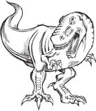 Tyrannosaurus Dinosaur Sketch Doodle Royalty Free Stock Photo