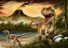 Tyrannosaurus drived Oviraptordinosaurs. A tyrannosaurus drived Oviraptordinosaurs by bellowing for protecting her eggs,and the volcano was in eruption in the Royalty Free Stock Images
