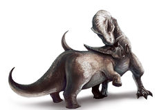 Tyrannosaurus is fighting Triceratops. An illustration of Tyrannosaurus Rex fighting a Triceratops Royalty Free Stock Images