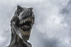 Tyrannosaurus with gray clouds background Royalty Free Stock Image