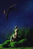 Tyrannosaurus het vechten met een voorhistorische vliegende vogel Stock Afbeelding