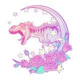 Tyrannosaurus met maan brullen en rozenkader die op wit wordt geïsoleerd die stock afbeeldingen