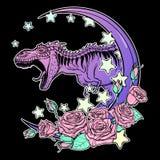 Tyrannosaurus met maan brullen en rozenkader die op zwarte wordt geïsoleerd die stock afbeeldingen