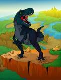 Tyrannosaurus mit Landschaftshintergrund Stockfotos
