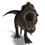 Tyrannosaurus rex. T-Rex. 3D render with clipping path and shadow over white stock illustration