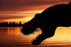 Tyrannosaurus rex. On a red sky background vector illustration