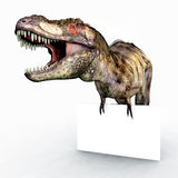 Tyrannosaurus Rex and Advertising Sign Stock Photos