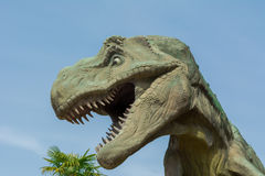 Tyrannosaurus rex angry at the park. Dinosaur realistic-tyrannosaurus rex angry at the park royalty free stock photography